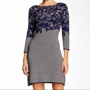 Taylor A-Line Seater Dress - Navy and Ivory